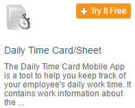 Mobile Daily Time Card/Sheet