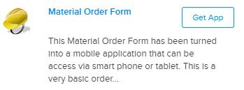 Material Order Form Mobile App