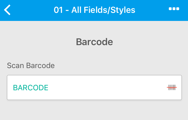 Mobile Form Barcode Field - Canvas