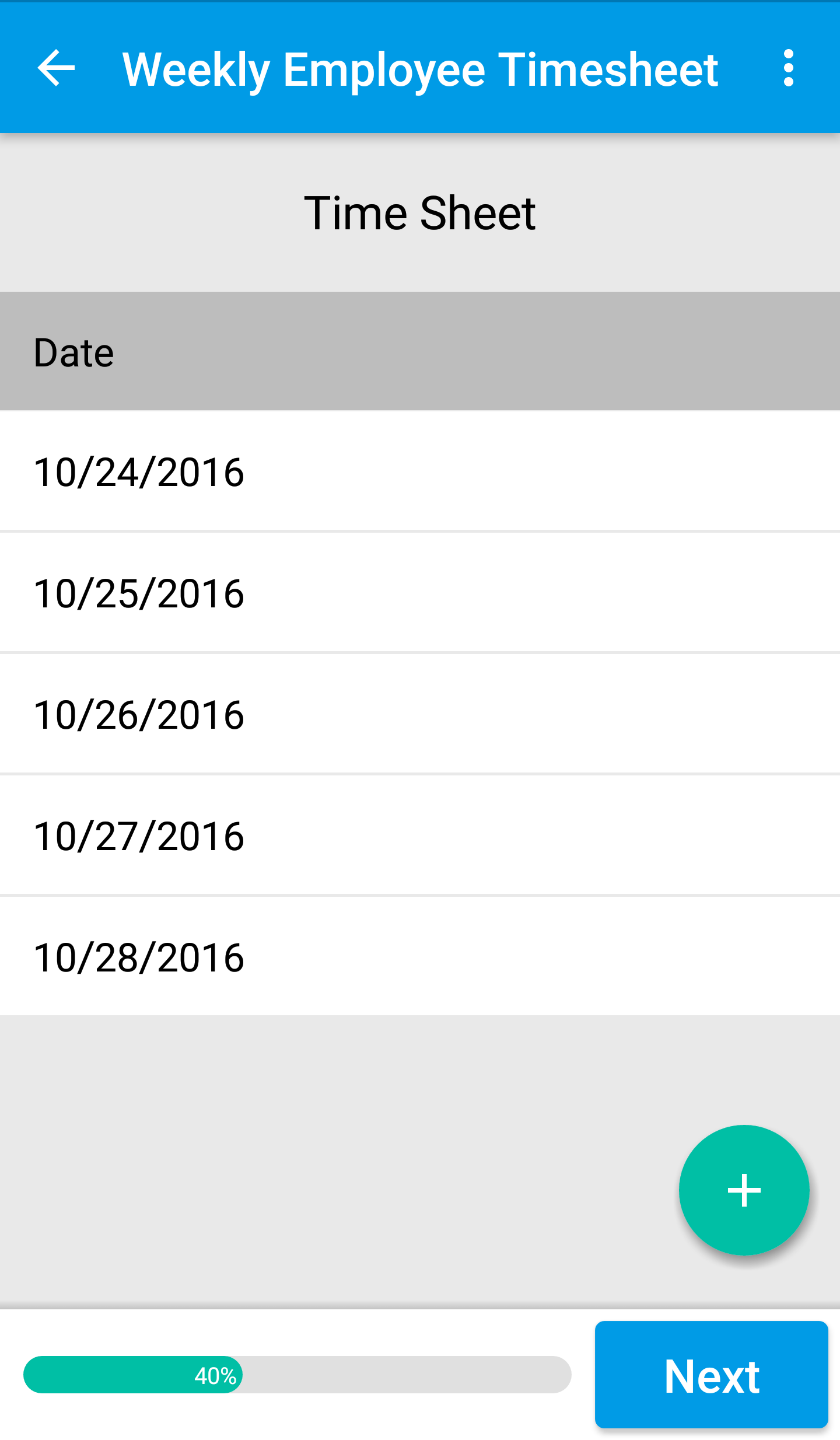 Canvas Mobile Time Sheet Form
