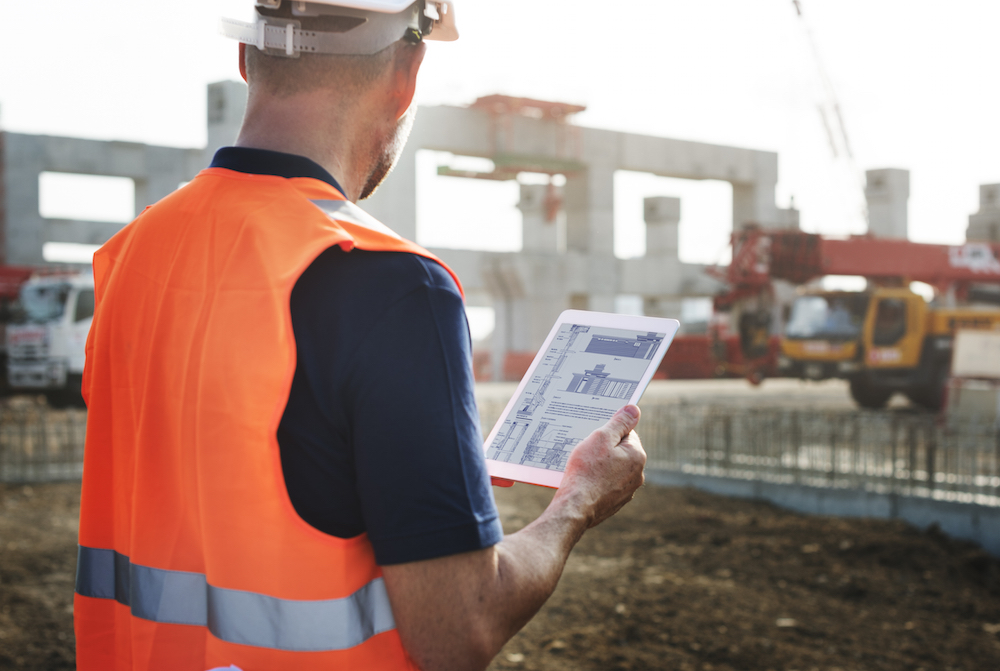 mobile tablet at construction job site