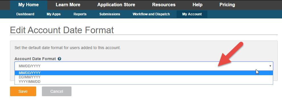 Edit Account Date Format