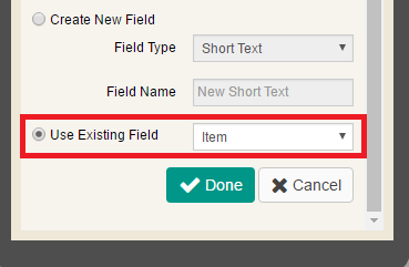 Use Existing Field