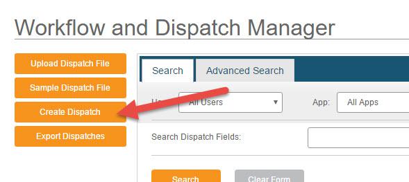 Create Dispatch - Web Interface - Step 2