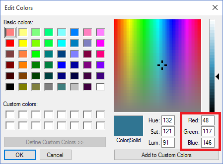Edit Colors - RGB Values