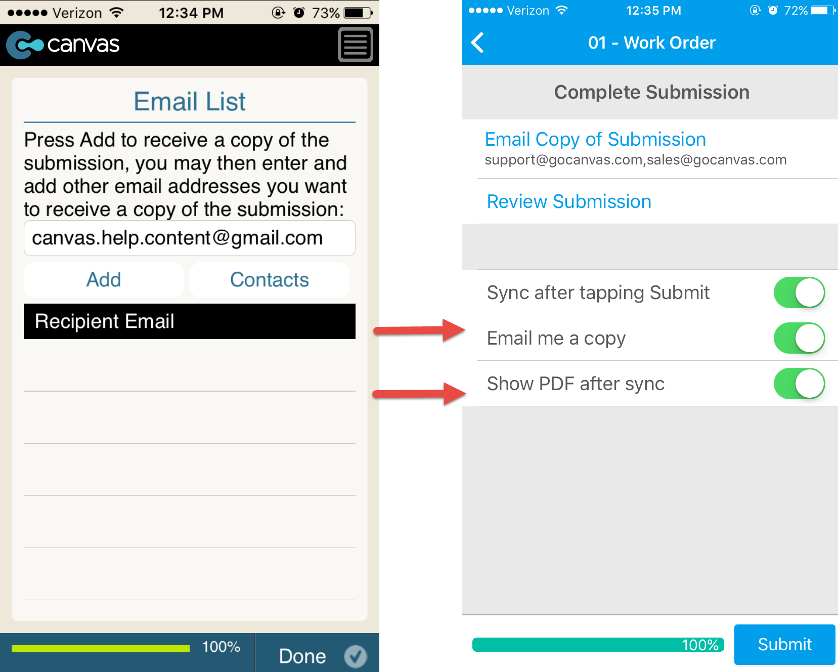 Canvas iOS app: old submission screen vs. new 2016 screen