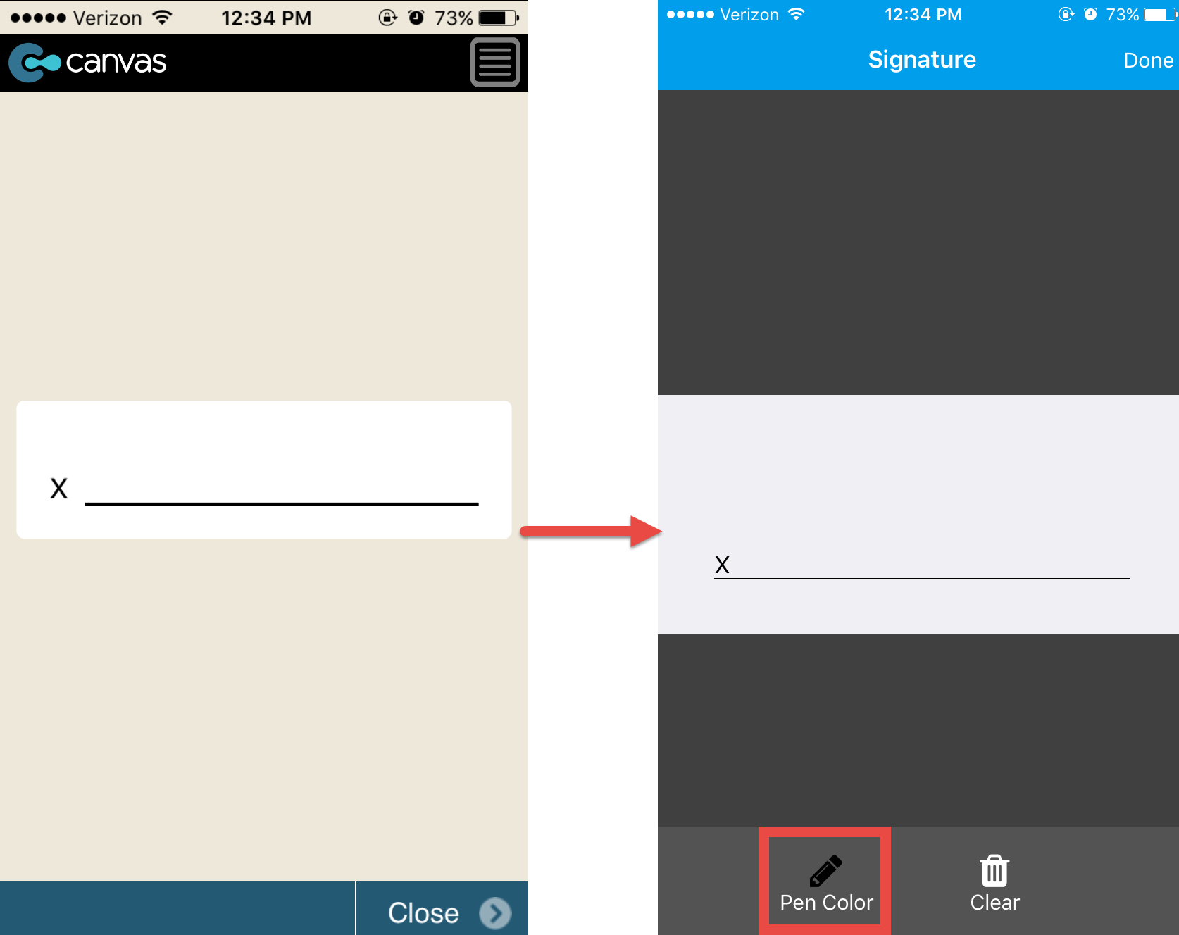 Canvas iOS app: Old signature capture style vs. new 2016 style