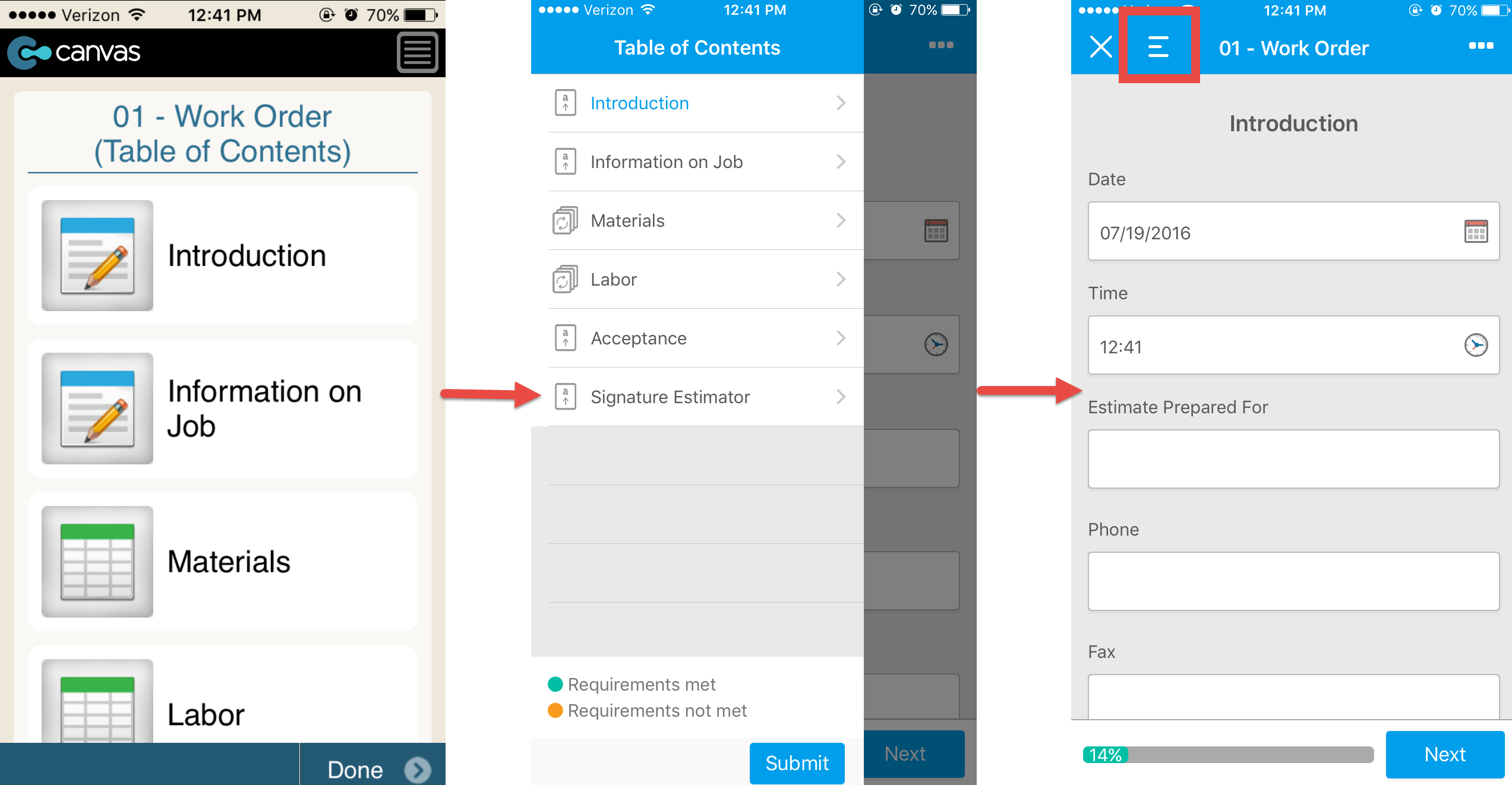 Canvas iOS app. Old table of contents style vs. new 2016 style