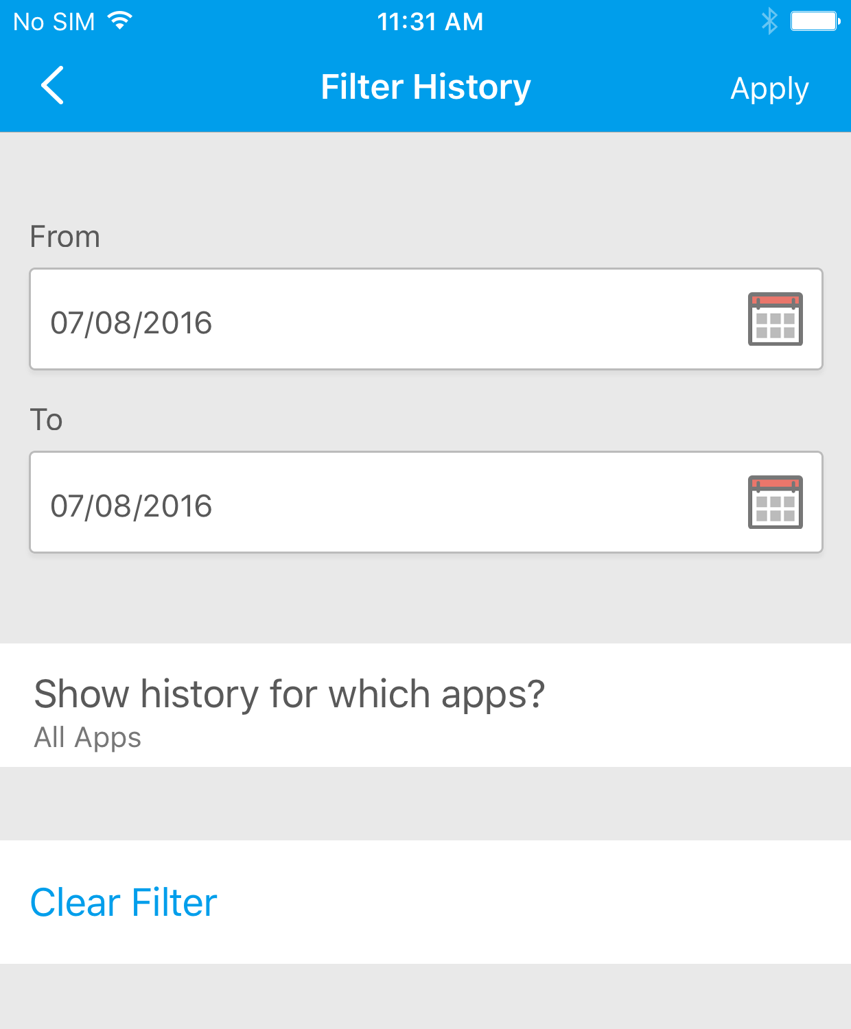 If You Would Like To Filter By Specific Apps, Select The Show History For  Which