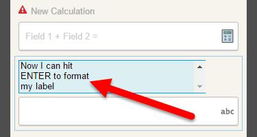 Field Label Formatting Screen Shot