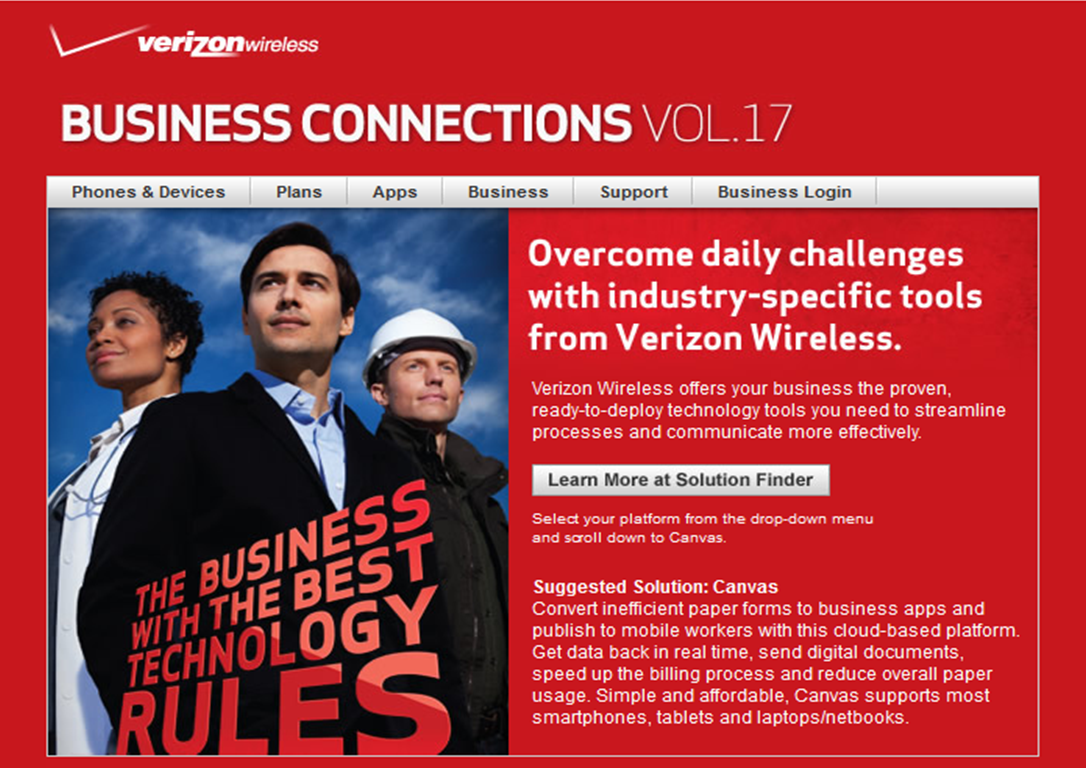 GoCanvas Featured on Cover of Verizon Business Connections