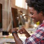 woman working on an ipad
