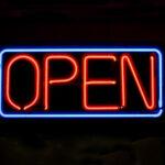 Illuminated open sign.