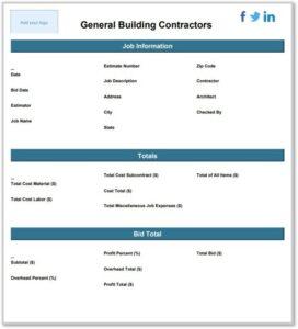 general building contractors estimate template