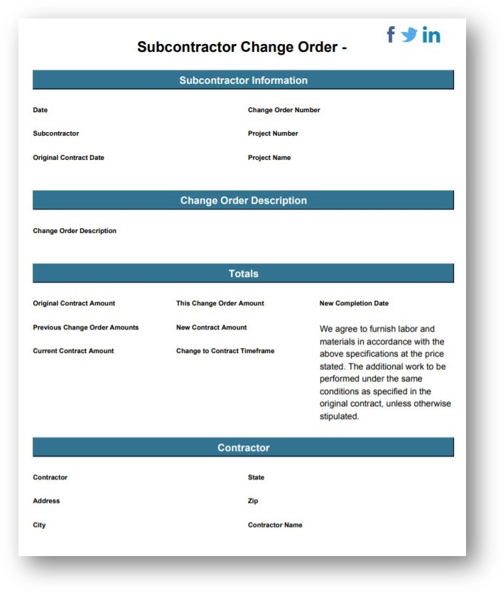 subcontractor change order template