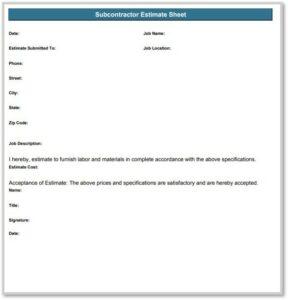 subcontractor estimate template example