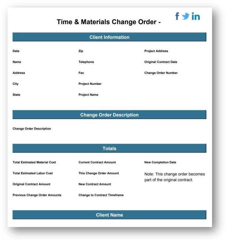time and materials change order template