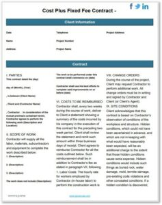 contract forms templates