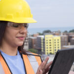 roofing contractor on ipad