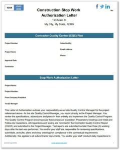 construction stop work template