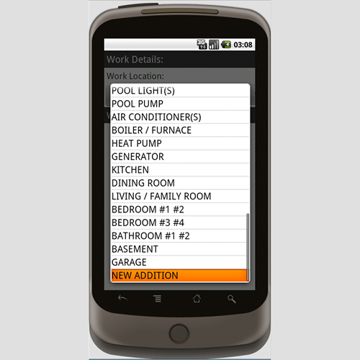 Work Location Screen.  This is the 4th screen in the application.  It specifies a list of locations on the job site where the work is to be done.  You can choose from a standard list of locations, then complete a checklist of items to be completed at that location.