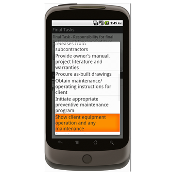 Android: Project Closeout Checklist - Construction Forms for Contractors Mobile App (Example 3)