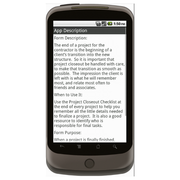 Android: Project Closeout Checklist - Construction Forms for Contractors Mobile App (Example 4)