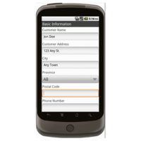 Android: Sales Order Form (Canada) Mobile App (Example 1)