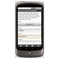 Android: Real Estate Open House Register Mobile App (Example 1)