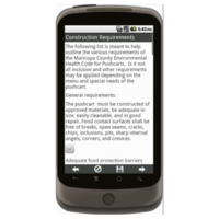 Android: General Operating Requirements for Food Pushcarts - Maricopa County, AZ Mobile App (Example 2)