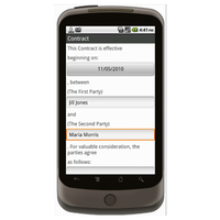 Android (1.5+): Basic Contract (Individual to Individual) Mobile App (Example 1)
