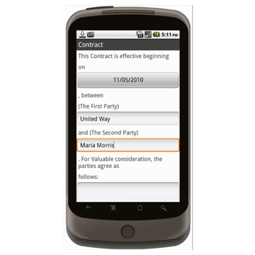 Android (1.5+): Basic Contract (Organization to Individual) Mobile App (Example 1)