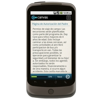 Android: Guardería Permiso / Release Formularios/Day Care Permission/Release Forms - Spanish Mobile App (Example 1)