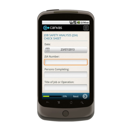 Android: OHS Management System: Job Safety Analysis (JSA) Checklist Template (Australia) Mobile App (Example 1)