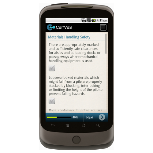 Android: OSHA Warehouse Safety Checklist: General Safety Mobile App (Example 2)