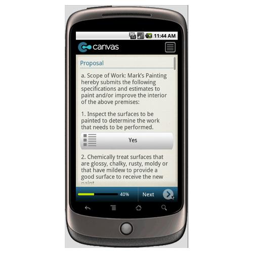 Interior Painting Bid Proposal Form Mobile App