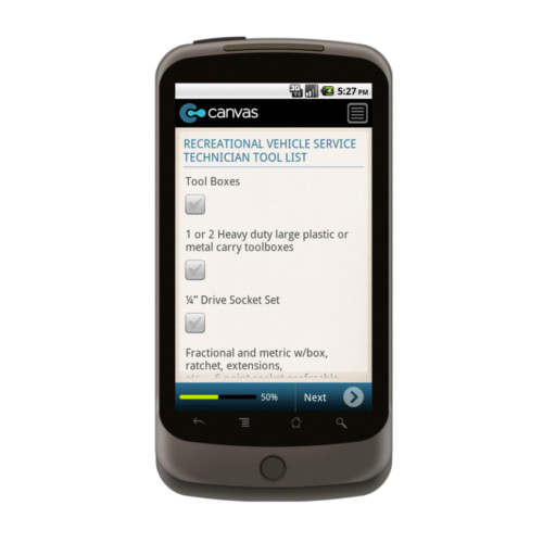 Android: RV Technician Tool List  Mobile App (Example 1)