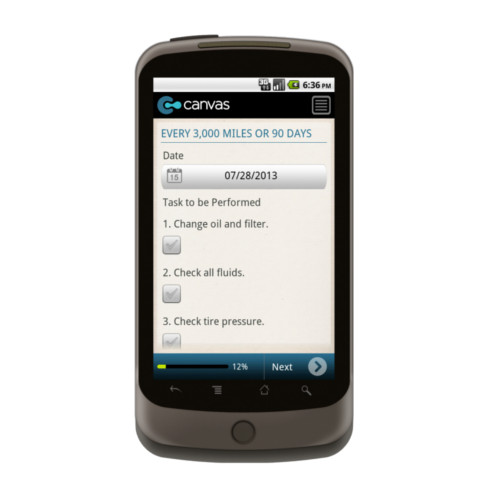 Android: Vehicle Maintenance Checklist Mobile App (Example 1)