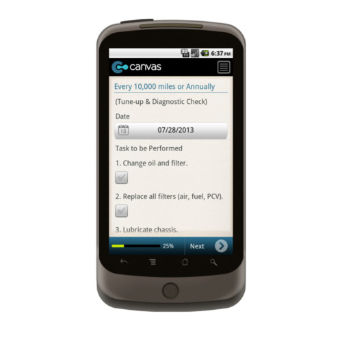 Android: Vehicle Maintenance Checklist Mobile App (Example 2)