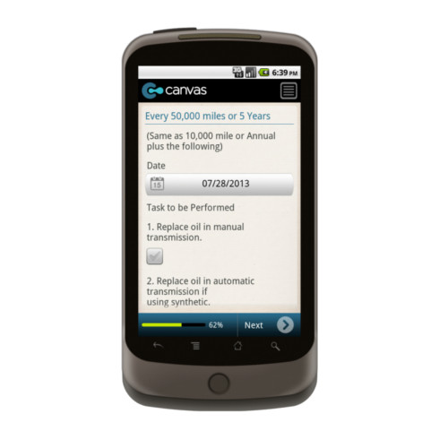 Android: Vehicle Maintenance Checklist Mobile App (Example 4)
