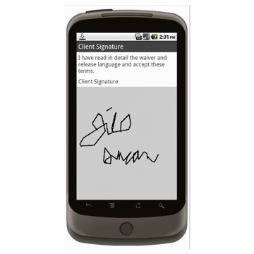Android (1.5+): Signature Capture for Waiver of Liability Mobile App (Example 3)