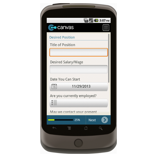 Android: Application for Employment (Short) - TheContractorsGroup.com Mobile App (Example 2)