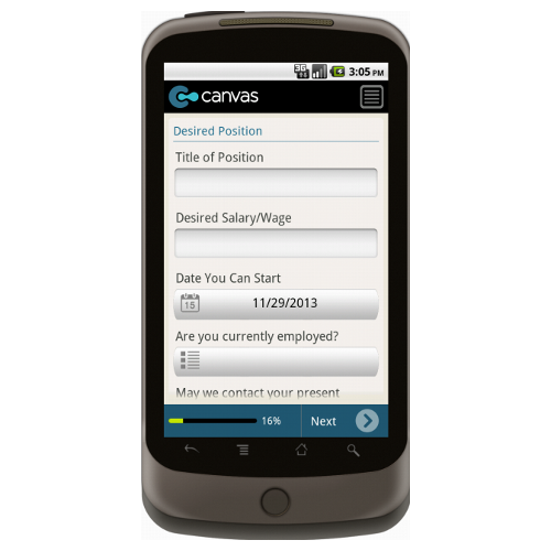 Android: Application for Employment (Long) - TheContractorsGroup.com Mobile App (Example 2)