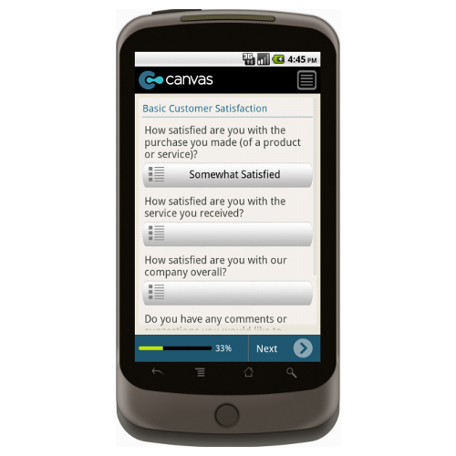 Android: SAMPLE - Customer Satisfaction Survey Mobile App (Example 2)