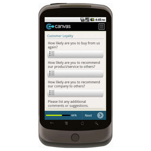 Android: SAMPLE - Customer Satisfaction Survey Mobile App (Example 3)