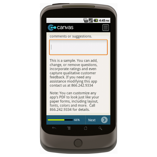 Android: SAMPLE - Customer Satisfaction Survey Mobile App (Example 4)