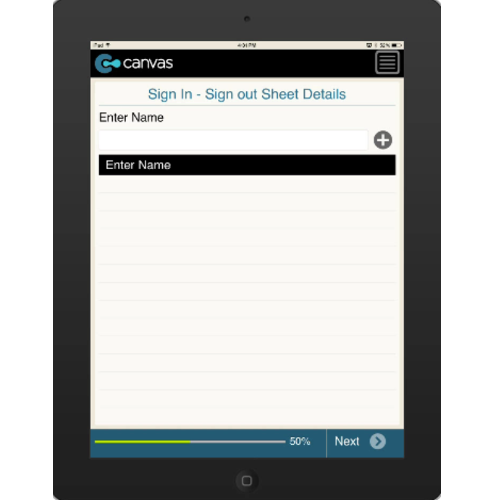 iPhone or iPad (iOS): Visitor Sign In/Sign Out Sheet Mobile App (Example 1)