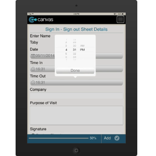 iPhone or iPad (iOS): Visitor Sign In/Sign Out Sheet Mobile App (Example 3)