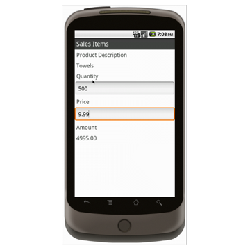 Android (1.5 - pre1.6): Sales Order Form (Simple) Mobile App (Example 2)