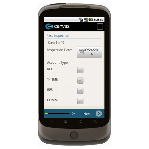 Android: Pest Control Service Order with Dispatch - Deluxe 365 Mobile App (Example 1)